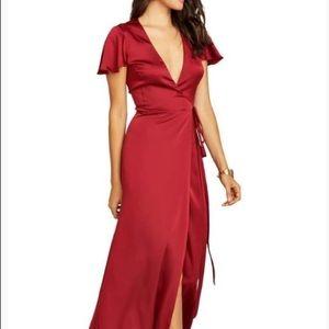 Show Me Your Mumu Noelle Satin Wrap Dress